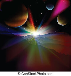 resumen, plano de fondo, con, salida del sol, y, estrellas, cielo