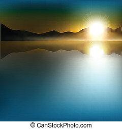 resumen, plano de fondo, con, salida del sol, y, montañas