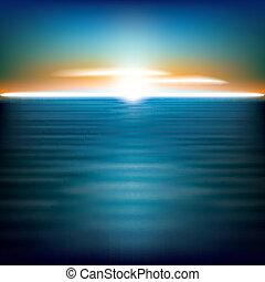 resumen, plano de fondo, mar, salida del sol