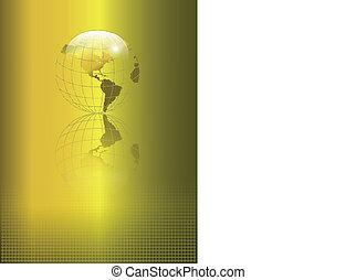 resumen, plano de fondo, oro, globo
