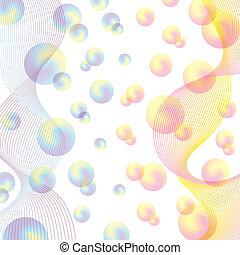 resumen, plano de fondo, sutil, coloreado, spheres.