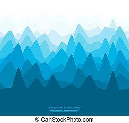 resumen, plano, montañas, ilustración