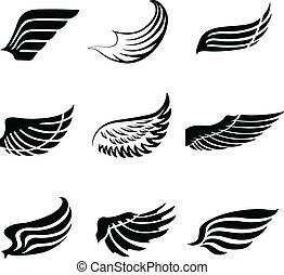 resumen, pluma, alas, iconos, conjunto