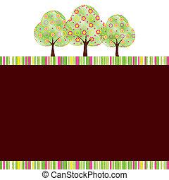 resumen, primavera, árbol, con, colorido, flor