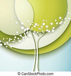resumen, primavera, árbol, con, flores