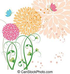 resumen, primavera, colorido, flor, y, mariposa