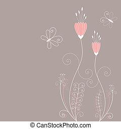 resumen, primavera, flores, tarjeta de felicitación