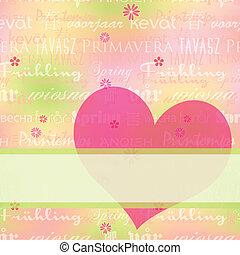 resumen, primavera, tarjeta de felicitación