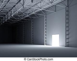 resumen, puerta abierta, dentro, almacén, 3d, ilustración