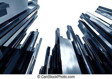 resumen, rascacielos, 3d