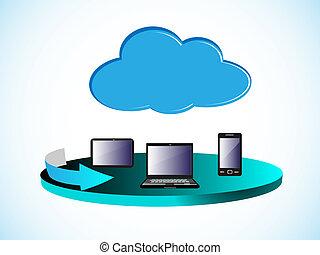 resumen, red, nube, informática