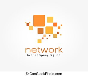 resumen, red, vector, logotipo, icono, concept., logotype, plantilla, para, branding