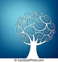 resumen, remolino, árbol, plano de fondo