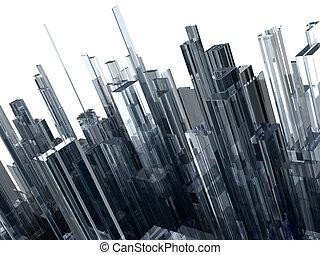 resumen, render, bloques, aislado, alto, vidrio, plano de fondo, blanco, calidad, 3d