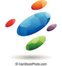 resumen, símbolo, de, oval, puntos, icono, con, mosaico, patrón
