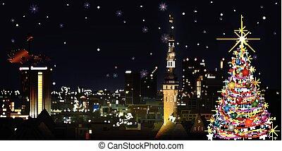 resumen, saludo, con, árbol de navidad, y, cityscape, de,...