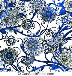 resumen, seamless, patrón, con, flowers., vector, eps10