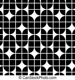 resumen, seamless, patrón, re, negro, blanco, geométrico, ...