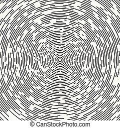 resumen, segmentar, geométrico, círculo, forma., radial, concéntrico, circles., rings., swirly, concéntrico, segmentar, circles., diseño, element., aleatorio, lines., vector, illustration., gráfico, texture., fondo.