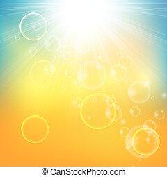 resumen, soleado, rayo, plano de fondo, sol