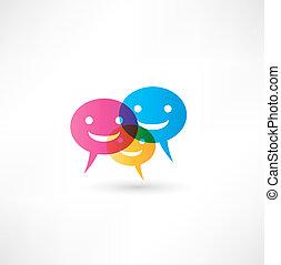resumen, sonrisa, hablar, burbuja