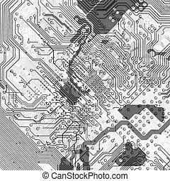 resumen, tablero de circuitos, plano de fondo, en, hola-hi-tech, estilo