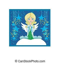 resumen, tarjeta de navidad, con, ángel