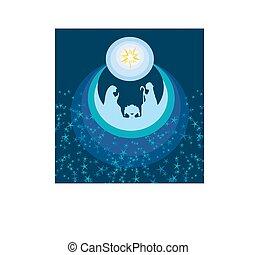 resumen, tarjeta de navidad, -, nacimiento, de, jesús, en, bethlehem.