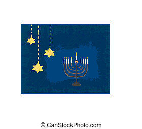 resumen, tarjeta, ilustración, vector, hanukkah, menorah