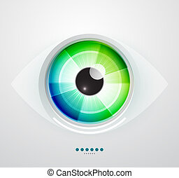 resumen, techno, eye., vector, ilustración