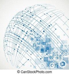 resumen, tecnología, globo, fondo., vector