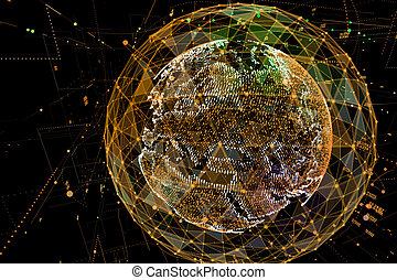 resumen, tecnología, plano de fondo, con, comunicación global, alto, detallado, globe., 3d, ilustración