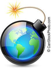 resumen, tierra, formado, como, un, bomba