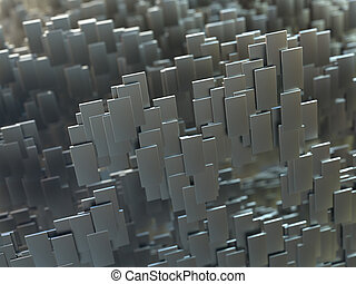 resumen, tres, dimensiones, metal, forma