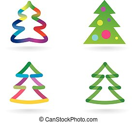 resumen, vector, árbol de navidad, icono, conjunto,...