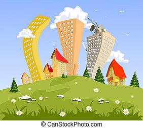 resumen, vector, ciudad, en, el, hill., verano