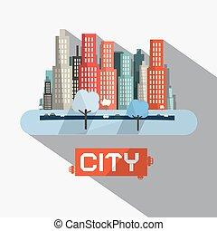 resumen, vector, ciudad, ilustración