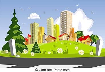 resumen, vector, ciudad, -, verano