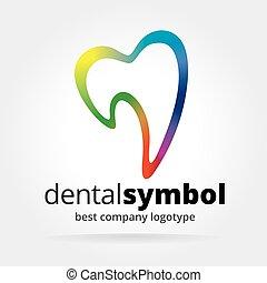 resumen, vector, dantist, diente, logotype, aislado, blanco,...