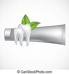 resumen, vector, dental, ilustración, dientes