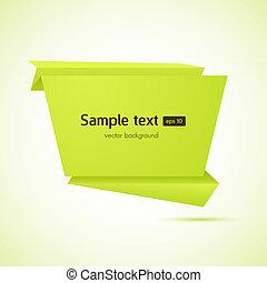 resumen, vector, discurso, plano de fondo, origami, burbuja