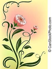 resumen, vector, flor, aislado, en, color, fondo.