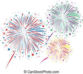 resumen, vector, fuegos artificiales, aniversario, muy lleno