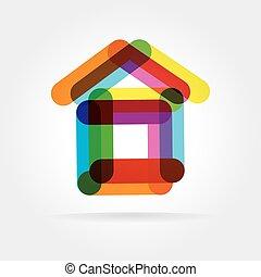 resumen, vector, icono de la casa, aislado, blanco, plano de...