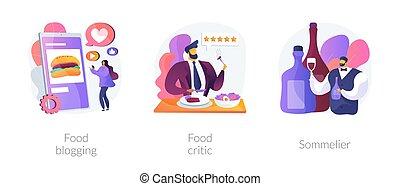 resumen, vector, illustrations., concepto, alimento, ...