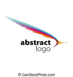 resumen, vector, logotipo, espectro, curvo, hojas
