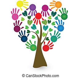 resumen, vector, manos, árbol, logotipo