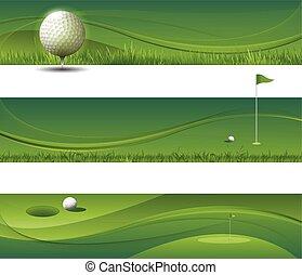 resumen, vector, ondulación, golf, plano de fondo