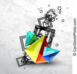 resumen, vector, pirámide, plano de fondo