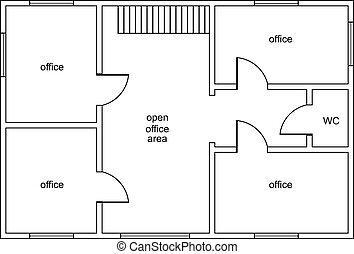 resumen, vector, plan, de, edificio de oficinas